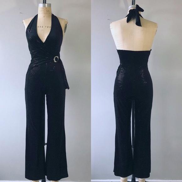 3a0b29318886 Vintage 1970 s Black Velvet Disco Halter Jumpsuit.  M 5ad91095f9e501682e0da123